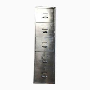 Schedario vintage in metallo sverniciato con cinque cassetti