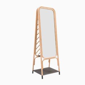 Panô Spiegel mit Rahmen aus Rattan von At-Once für ORCHID EDITION