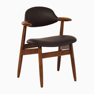 Sedia in pelle nera di Tijsseling Nijkerk, anni '60