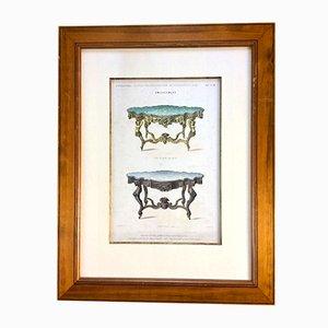 Litografia raffigurante mobili ed interni di Imp. de Decan per M. Jansen, Francia, XIX secolo