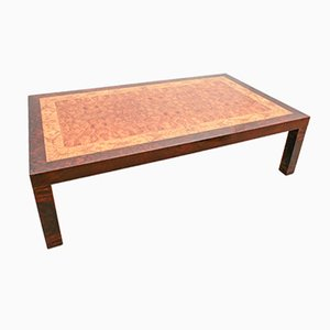 French Tricolor Burl Wood Coffee Table from Mobilier France, 1970s
