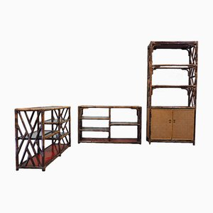 Mid-Century Bamboo, Rattan and Cane Shelving Set