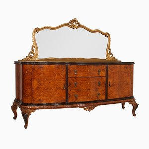 Baroque Style Venetian Walnut & Maple Inlay Credenza with Mirror, 1920s