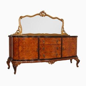Credenza veneziana in stile barocco in noce con intarsi in acero e specchio, anni '20