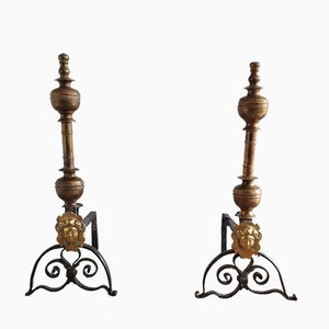 Antique 'Le Roi Soleil' Andirons, Set of 2