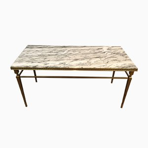 Brass & Marble Coffee Table with Greek Key Decor, 1940s