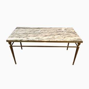 Tavolino da caffè in ottone e marmo con decorazione a forma di chiave greca, anni '40