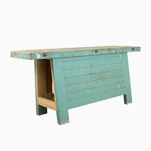 French Blue Carpenters Workbench, 1930s