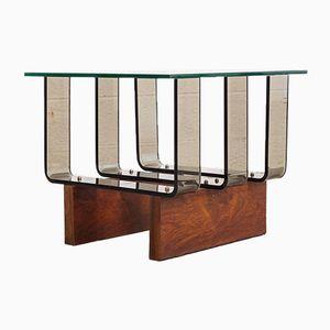 Mid-Century Beistelltisch aus Plexiglas, Glas & Nussholz