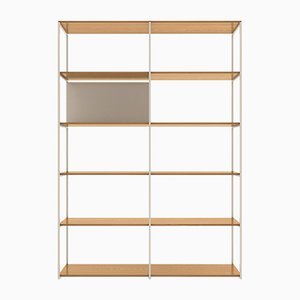 902 Shelving System in American White Oak & Matte White Metal from Modiste Furniture