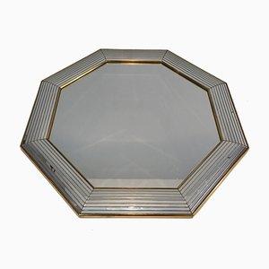 Achteckiger Spiegel mit Rahmenkanten aus Plexiglas, 1970er