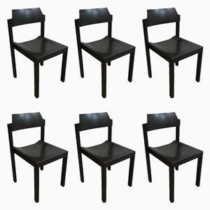 Stapelbare schwarze Vintage Holzstühle von Schlapp-Möbel, 6er Set