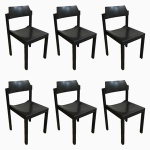 Vintage Stackable Black Wood Chairs from Schlapp-Möbel, Set of 6