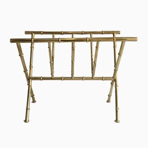 Faux-Bamboo Brass Magazine Rack, 1970s