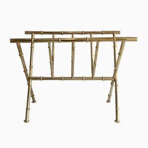 Porte-Revues en Laiton et Imitation Bambou, 1970s