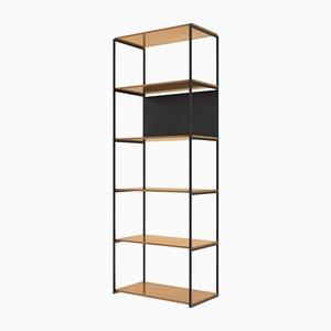 901 Regalsystem aus weißer amerikanischer Eiche & mattem schwarzen Metall mit strukturierter Oberfläche von Modiste Furniture