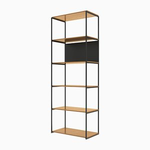 901 Shelving System in American White Oak & Textured Matt Black Metal from Modiste Furniture