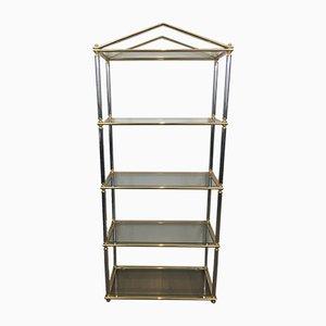 Estantería de vidrio y metal dorado y plateado, años 70