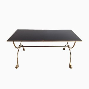 Brass and Black Glass Coffee Table from Maison Jansen, 1940s