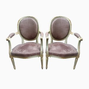 Louis XVI Medallion Armchairs, 1925, Set of 2