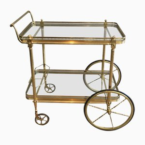 French Neoclassical Brass Drinks Trolley, 1970s