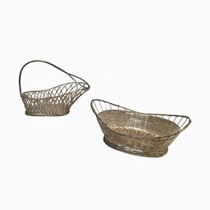 Silver Plated Bottle Holder & Basket, 1960s