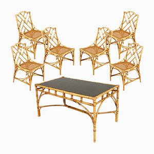 Mid-Century Rattan Bamboo Table and Chairs from Vittorio Bonacina