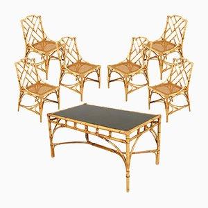 Tavolo e sedie Mid-Century in bambù e vimini di Vittorio Bonacina