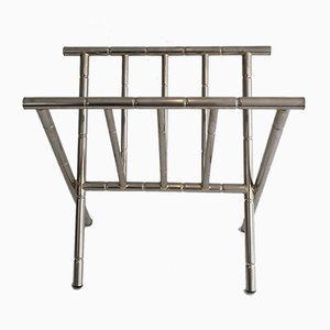 Faux-Bamboo Nickel Magazine Rack, 1970s