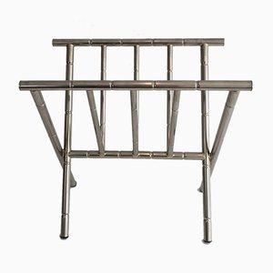 Porte-Revues en Nickel et Imitation Bambou, 1970s
