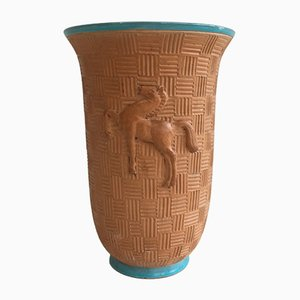Mid-Century Ceramic Vase with Prancing Horse Relief
