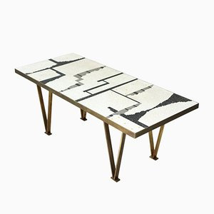 Mosaic Coffee Table with Brass Frame, 1960s