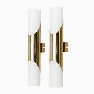 Glass and Brass Wall Sconces by Paul Neuhaus for Neuhaus Leuchten, 1970s, Set of 2