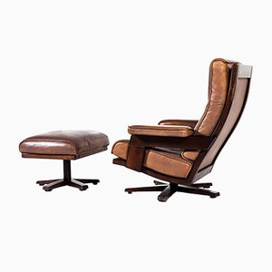 Lounge Swivel Chair & Ottoman by Harry de Groot for Leolux, 1970s