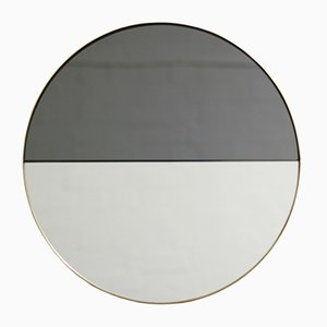 Small Mixed Tint Dualis Orbis Round Mirror with Brass Frame by Alguacil & Perkoff Ltd