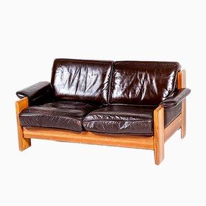 Sofás de dos plazas vintage de roble y cuero de Leolux, años 70
