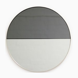 Medium Mixed Tint Dualis Orbis Round Mirror with Brass Frame by Alguacil & Perkoff Ltd