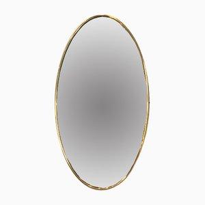 Specchio ovale in ottone, anni '40