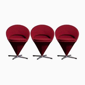 Chaises Cone par Verner Panton, 1960s, Set de 3