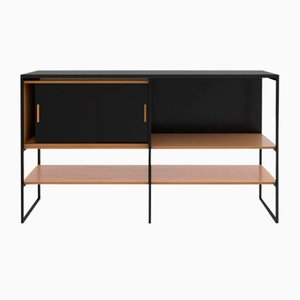 Crédence Modèle 601 en Chêne Blanc et Granite Texturé Noir Mat de Modiste Furniture