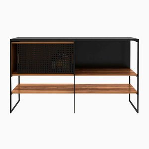 Figured Red Gum & Flamed Granite 602 Credenza with Matt Black Frame from Modiste Furniture