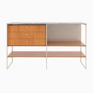 603 Anrichte aus mattweißem Metall, amerikanischer weißer Eiche & Carrara Marmor von Modiste Furniture