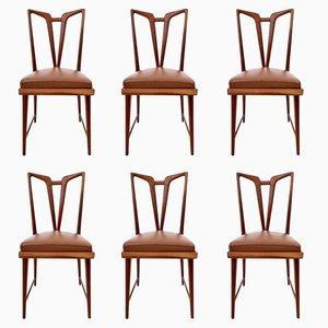 Esszimmerstühle aus massivem Mahagoni mit braunem Bezug aus Skai, 1950er, 6er Set