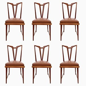Solid Mahogany Dining Chairs with Brown Skai Upholstery, 1950s, Set of 6