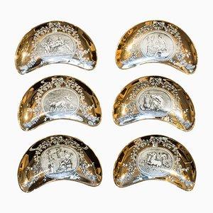 Platos en forma de media luna con medallón de Atelier Fornasetti, años 60. Juego de 6