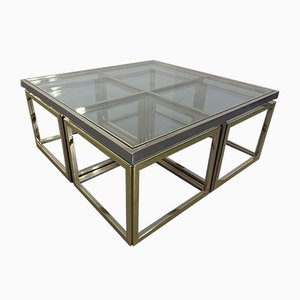 Brass & Chrome Modular Coffee Table from Maison Charles, 1960s