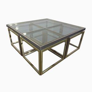 Tavolino da caffè modulare in ottone e metallo cromato di Maison Charles, anni '60