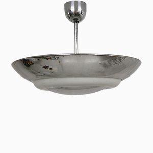 Lámpara colgante Bauhaus de aluminio y vidrio opalino, años 30