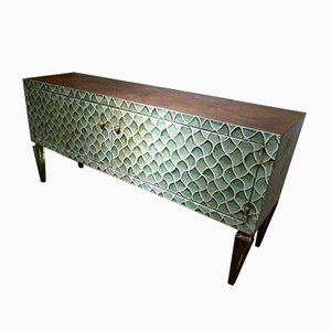 Spanish Iron Chest of Drawers with Green Toned Decoration from Pabillon