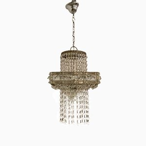 Mid-Century Cascading Crystal Chandelier, 1970s